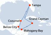 Tampa, Navigation, Grand Cayman, Mahogany Bay, Belize City, Cozumel, Navigation, Tampa