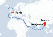 Paris, Rangoon, Rangoon, Bagan, Mont Popa, Bagan, Yandabo, Monywa, Amarapura, Mandalay, Rangoon, Paris