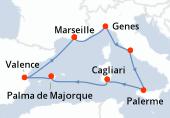 Marseille, Genes, Civitavecchia - Rome, Palerme, Cagliari, Palma de Majorque, Valence, Marseille