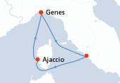 Genes, Civitavecchia - Rome, Ajaccio, Genes