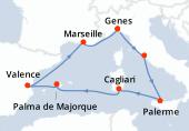 Genes, Civitavecchia - Rome, Palerme, Cagliari, Palma de Majorque, Valence, Marseille, Genes