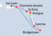 San Juan, Charlotte Amalie, St Kitts, Antigua, Castries, Bridgetown, Navigation, San Juan