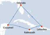 Orlando, Navigation, Labadee, Falmouth, Navigation, Cozumel, Navigation, Orlando