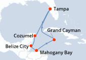 Tampa, Navigation, Cozumel, Belize City, Mahogany Bay, Grand Cayman, Navigation, Tampa