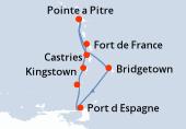 Pointe a Pitre, Castries, Bridgetown, Port d Espagne, Saint George (Grenade), Kingstown, Fort de France, Pointe a Pitre