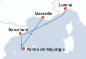 Savone, Barcelone, Palma de Majorque, Navigation, Marseille