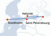 Stockholm, Stockholm, Helsinki, Saint Petersbourg, Saint Petersbourg, Tallinn, Stockholm, Stockholm