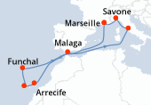 Marseille, Navigation, Navigation, Arrecife, Santa Cruz de Tenerife, Funchal, Navigation, Malaga, Navigation, Civitavecchia - Rome, Savone, Marseille