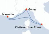 Genes, Civitavecchia - Rome, Marseille, Genes