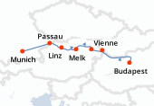 Munich, Passau, Linz, Melk, Vienne (Danube), Vienne (Danube), Bratislava, Budapest, Budapest