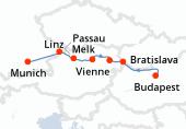 Budapest, Budapest, Bratislava, Vienne (Danube), Vienne (Danube), Melk, Linz, Passau, Munich