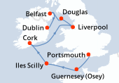 Portsmouth, Guernesey (Osey), Iles Scilly, Cork, Liverpool, Douglas, Belfast, Dublin