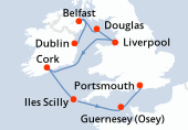 Dublin, Belfast, Douglas, Liverpool, Cork, Iles Scilly, Guernesey (Osey), Portsmouth