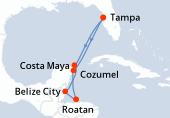 Tampa, Navigation, Costa Maya, Belize City, Roatan, Cozumel, Navigation, Tampa