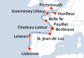 Lisbonne, Leixoes, Navigation, St. Jean de Luz, Bordeaux, Bordeaux, Pauillac, Chateau Latour, Belle île, Guernesey (Osey), Honfleur, Portsmouth