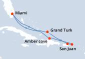 Miami, Navigation, Grand Turk, San Juan, Saint thomas, Amber cove, Navigation, Miami