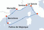 Savone, La Spezia, Civitavecchia - Rome, Navigation, Palma de Majorque, Barcelone, Marseille, Savone