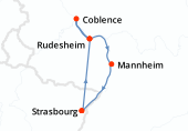 Strasbourg, Rudesheim, Coblence, Rudesheim, Mannheim, Strasbourg