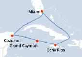Miami, Navigation, Ocho Rios, Grand Cayman, Cozumel, Navigation, Miami