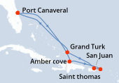 Port Canaveral, Navigation, Amber cove, Saint thomas, San Juan, Grand Turk, Navigation, Port Canaveral