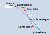 San Juan, Saint thomas, La Dominique, La Barbade, Sainte Lucie, Saint Kitts, Philipsburg SM, San Juan
