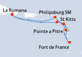 Pointe a Pitre, Philipsburg SM, La Romana, La Romana, Ile Catalina(DOM), St Kitts, Antigua, Fort de France, Pointe a Pitre