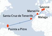 Savone, Marseille, Navigation, Malaga, Navigation, Santa Cruz de Tenerife, Navigation, Navigation, Navigation, Navigation, Navigation, Navigation, Fort de France, Pointe a Pitre