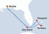 Mobile, Navigation, Key West, Freeport, Princess Cays, Nassau, Navigation, Navigation, Mobile
