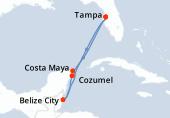 Tampa, Navigation, Cozumel, Belize City, Costa Maya, Navigation, Tampa