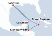 Galveston, Navigation, Cozumel, Mahogany Bay, Grand Cayman, Navigation, Navigation, Galveston