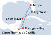 Tampa, Key West, Navigation, Santo Thomas de Castilla, Mahogany Bay, Costa Maya, Navigation, Tampa
