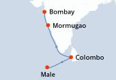 Male, Male, Navigation, Colombo, Navigation, Mormugao, Bombay, Bombay