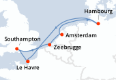 Le Havre, Southampton, Zeebrugge, Amsterdam, Amsterdam, Hambourg, Navigation, Le Havre