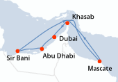 Dubai, Abu Dhabi, Sir Bani, Navigation, Mascate, Khasab, Dubai, Dubai