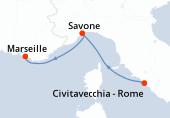 Civitavecchia - Rome, Savone, Marseille