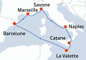 Barcelone, Marseille, Savone, Naples, Catane, La Valette, Navigation, Barcelone