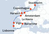 Stockholm, Stockholm, Navigation, Copenhague, Navigation, Amsterdam, Harwich, Le Havre, Navigation, Vigo, Lisbonne, Navigation, Barcelone