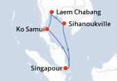 Singapour, Navigation, Ko Samui, Laem Chabang, Laem Chabang, Sihanoukville, Navigation, Singapour