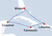 Miami, Navigation, Labadee, Falmouth, Navigation, Cozumel, Navigation, Miami