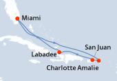 Miami, Navigation, Navigation, Charlotte Amalie, San Juan, Labadee, Navigation, Miami