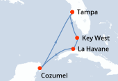 Tampa, Key West, La Havane, Cozumel, Navigation, Tampa