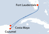 Fort Lauderdale, Navigation, Cozumel, Costa Maya, Navigation, Fort Lauderdale