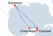 Galveston, Navigation, Costa Maya, Cozumel, Progreso (Yucatan), Navigation, Galveston