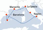 Barcelone, Palma de Majorque, Marseille, La Spezia, Civitavecchia - Rome, Naples, Navigation, Barcelone