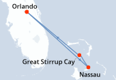 Orlando, Nassau, Great Stirrup Cay, Navigation, Orlando