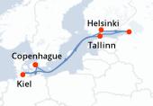 Copenhague, Navigation, Helsinki, Saint Petersbourg, Tallinn, Navigation, Kiel, Copenhague