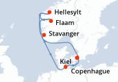 Copenhague, Navigation, Hellesylt, Flaam, Stavanger, Navigation, Kiel, Copenhague