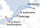 Southampton, Zeebrugge, Amsterdam, Amsterdam, Hambourg, Navigation, Le Havre, Southampton