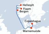 Warnemunde, Navigation, Bergen, Flaam, Hellesylt, Navigation, Copenhague, Warnemunde