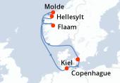 Copenhague, Navigation, Hellesylt, Molde, Flaam, Navigation, Kiel, Copenhague